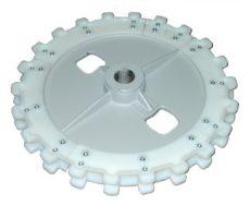 műanyag meghajtó fogaskerék UNI 60 behordóhoz, lánc, osztásköz 70 mm