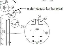 ventilátor zsalu mozgató kar rugó rögzítő füllel, bal