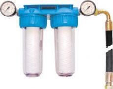 """vízszűrő egység 2 szűrővel, 2 feszmérő órával, 3/4"""" csatlakozókkal"""