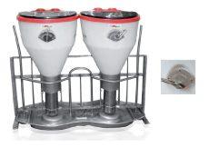 Dupla Tubo TSKK Hox hízóetető rozsdamentes acél tányérral, 4 itatószeleppel